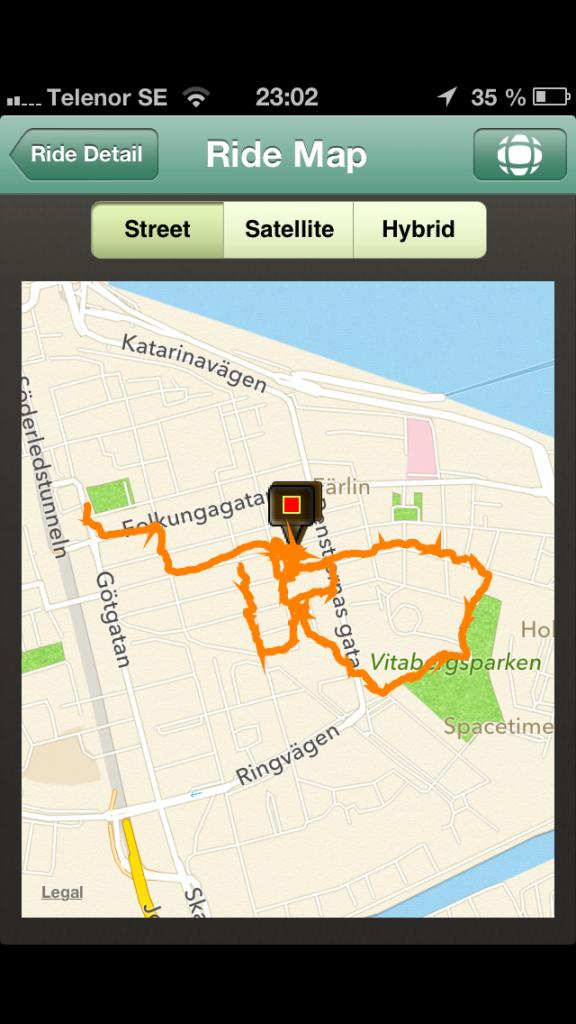 Exempel på rutt på karta